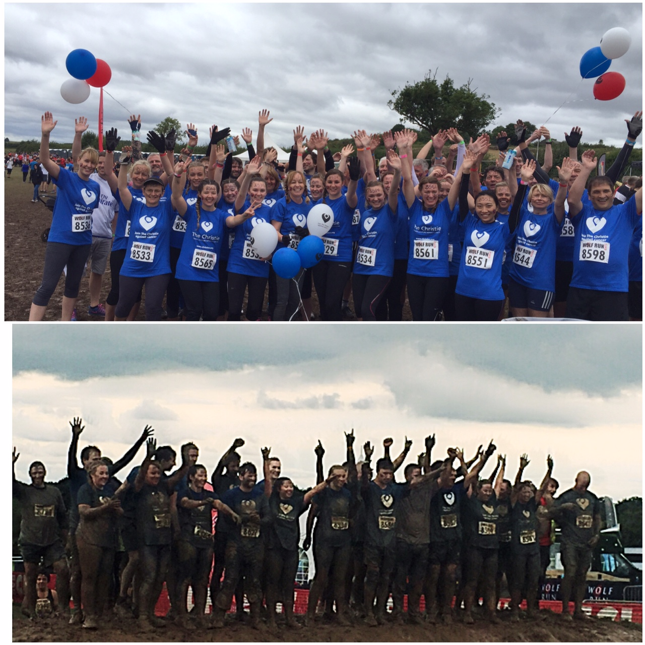 Before and after: The Christie Wolf Pack show the difference between the start of a muddy 10km obstacle course and the end! This is actually one of my favourite ever photos!