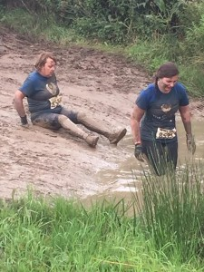 Gemma and her mum Yvette bravely tackle the mud!